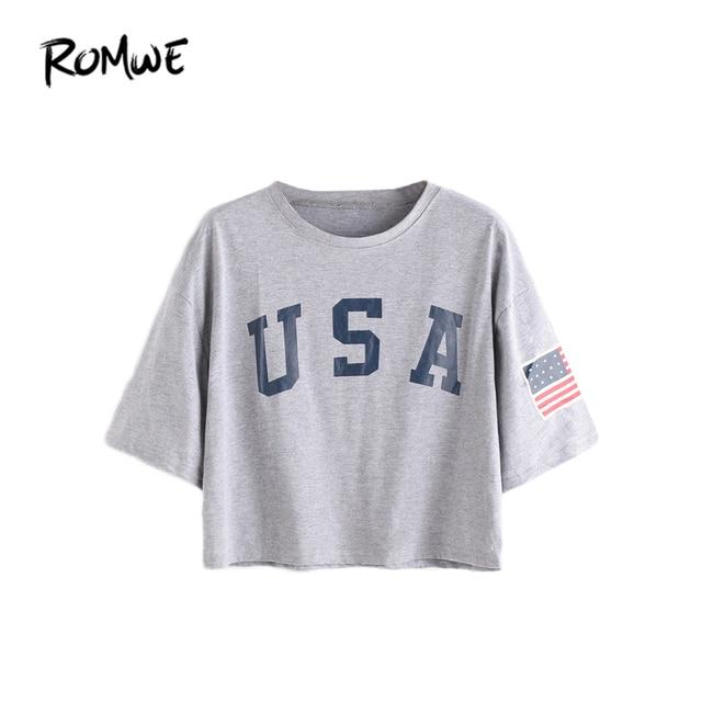 7ed455e7 ROMWE T shirts Women 2019 Summer Tee Shirt Casual Top Female Grey Letter  Print Short Sleeve