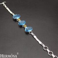 Céu bluetopaz hotcitrine mais recente bonito prata esterlina 925 elos da cadeia pulseira para meninas 7.5-8.75 ''longa ny156 hermosa jóias