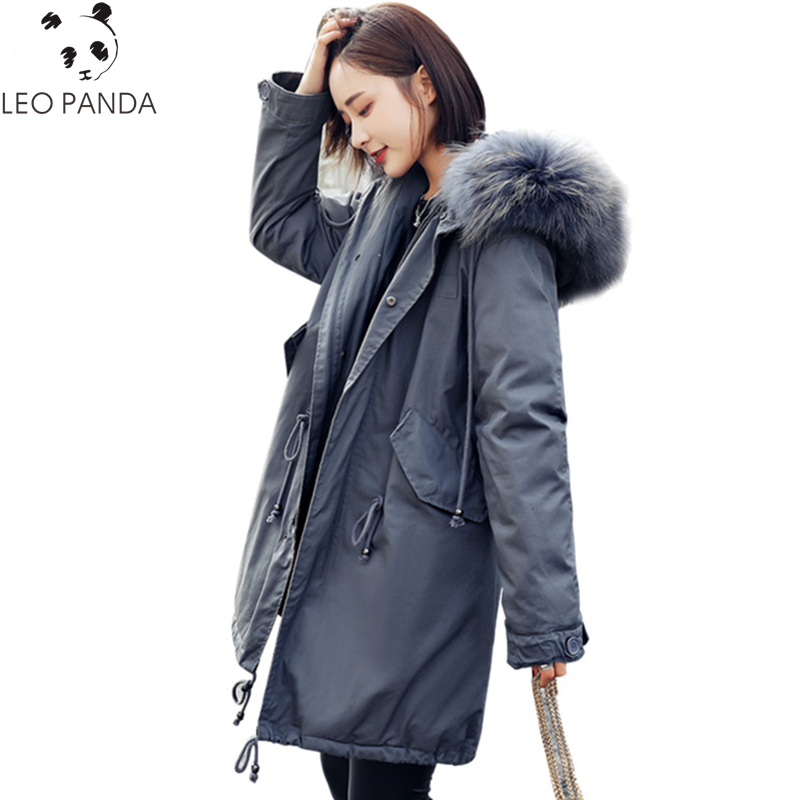 Big Fur Collar Down Jackets Winter Women Hooded Plus Size Coats Slim Thicken Warm Long Overcoat 2018 Casual Ladies Parkas LX706