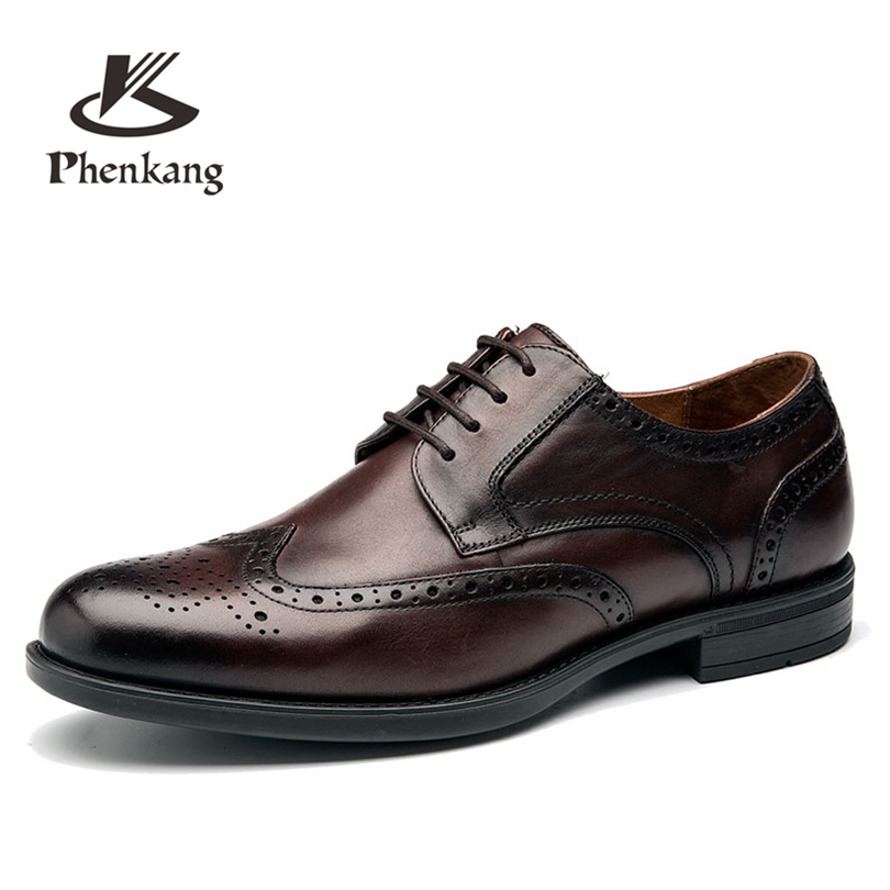 Men's Bullock leather shoes luxury brand lace up brown shoes men black Business Dress wedding Leather Shoes Phenkang