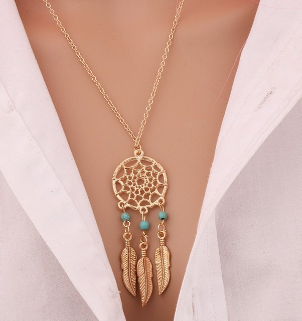 Bohemia Vintage Silver Plated Dreamcatch Feather Pendants Necklace For Women Cho