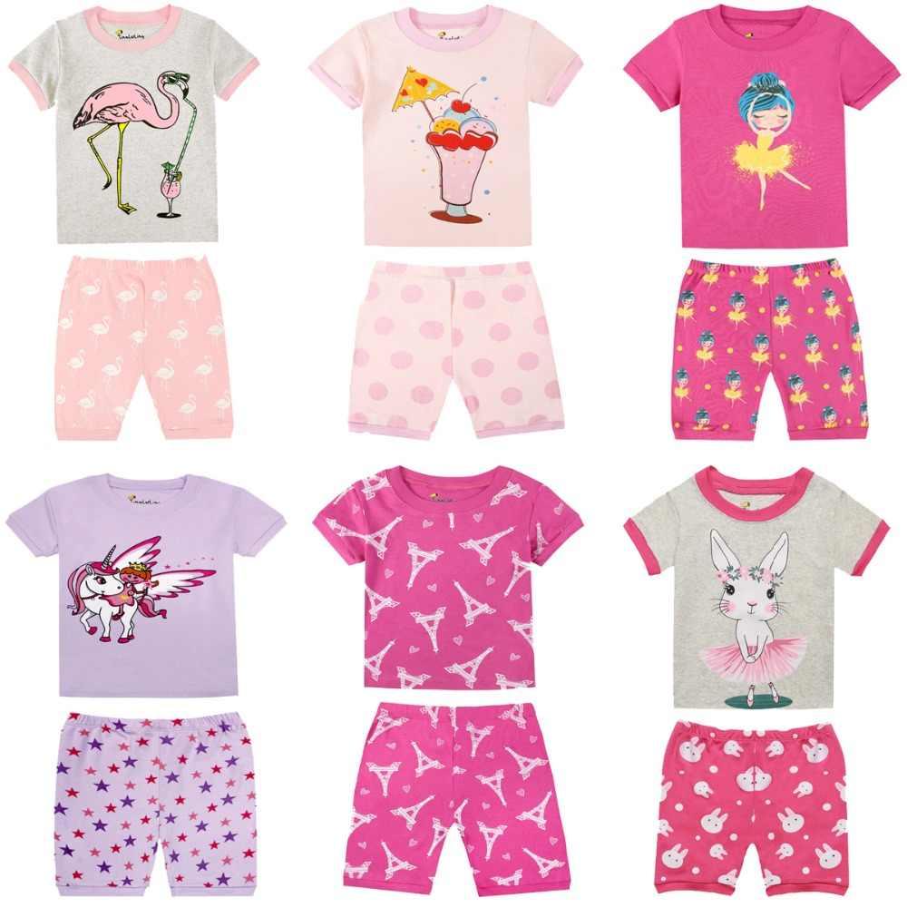 Roupas de Bebê Meninas verão Crianças Curto Pijama Define Crianças Pijamas de Algodão Pijamas Do Bebê para 1-8 Anos Meninas Animais impressão PJS