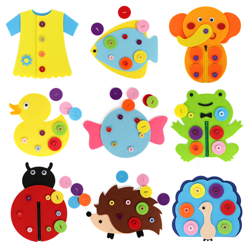 14 Styles Felt Button Craft For Kids Early Learning Handmade Buckle Button Kindergarten Teaching Toys DIY Felt Cloth Crafts