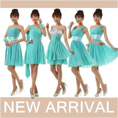 Turquoise Green Short Bridesmaids Mix Modest Bridesmaid Beautiful Bridemaids Dresses 2020 Classic Dress For Weddings
