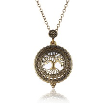 Hollow Magnifying Glass Necklaces Vintage Antique Gold Tree of Life Necklaces & Pendant For Women Femme Link Chain
