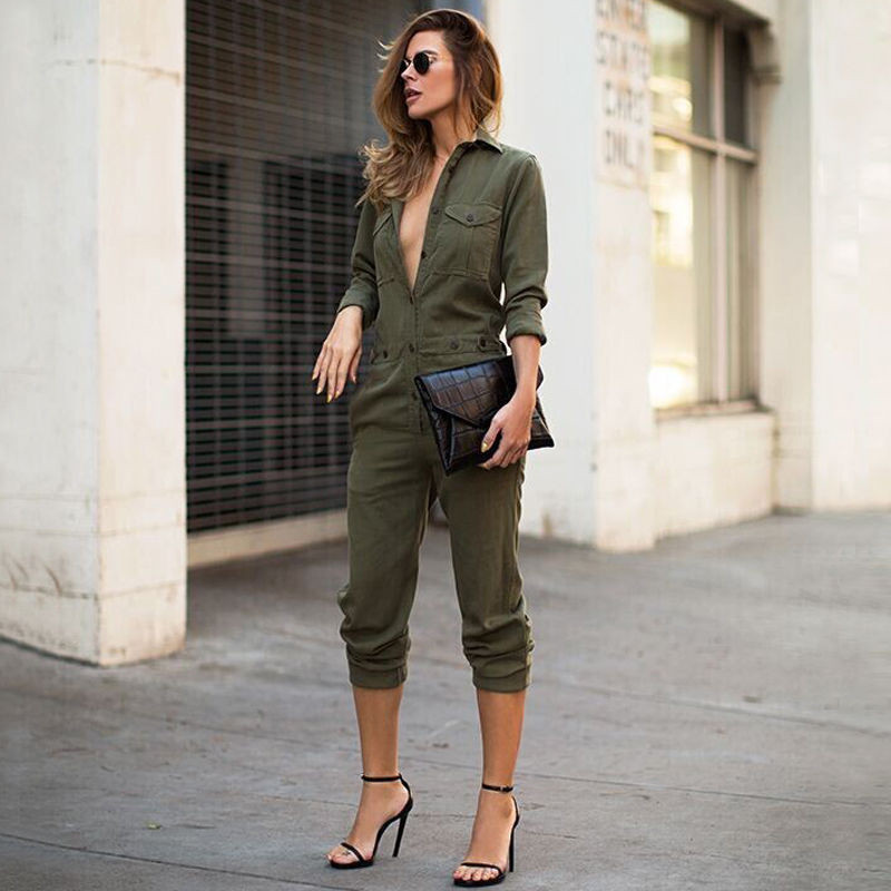 Sexy Slim Bodycon Women Jumpsuit Long Sleeve Solid Army Green Casual Button Bodysuit Ladies Vintage Rompers Female Long Playsuit