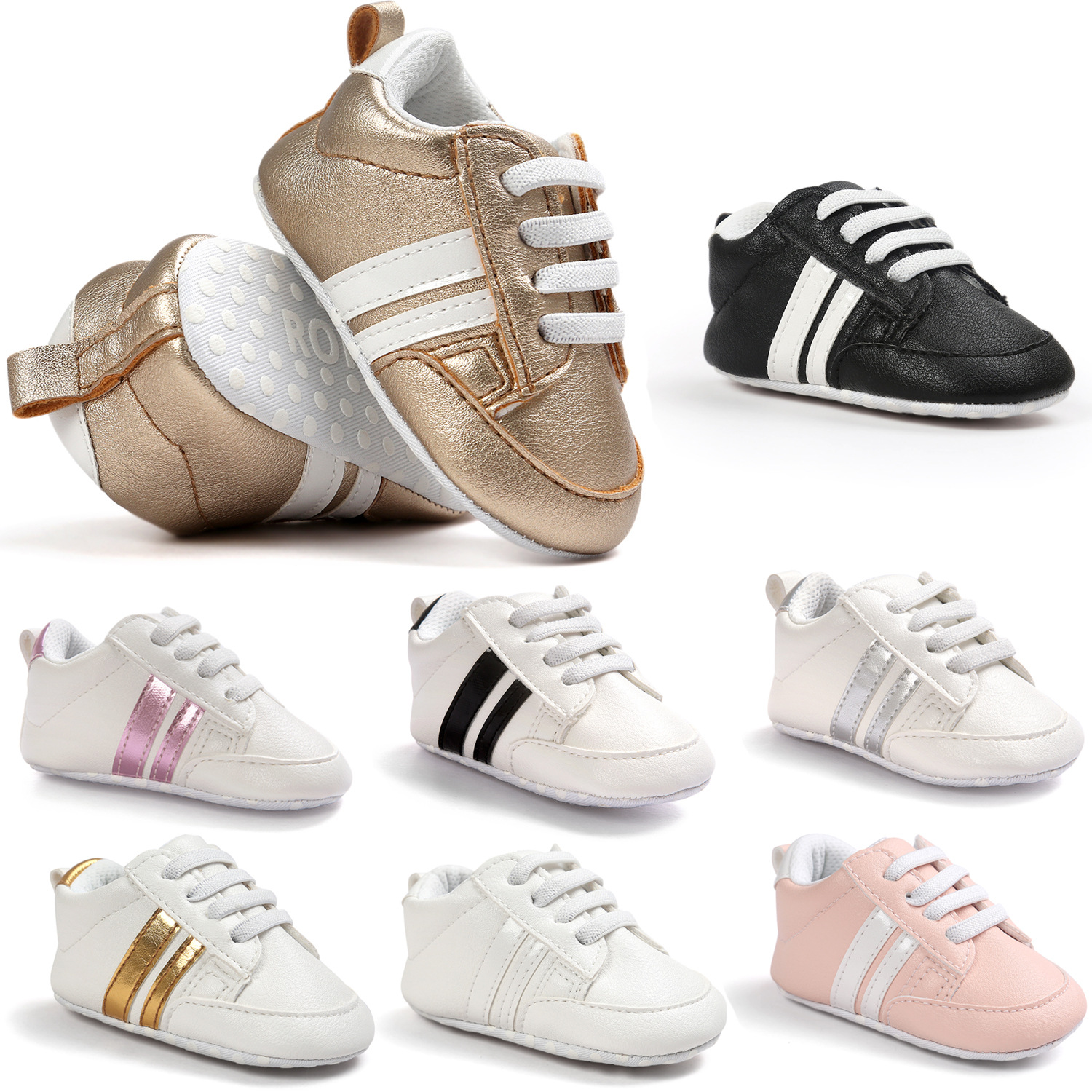 Leather baby shoes 8-Color PU Casual Boy Shoes Stripe Sports Toddler Shoes Children'S Shoes Soft Sole Sneakers First Walkers