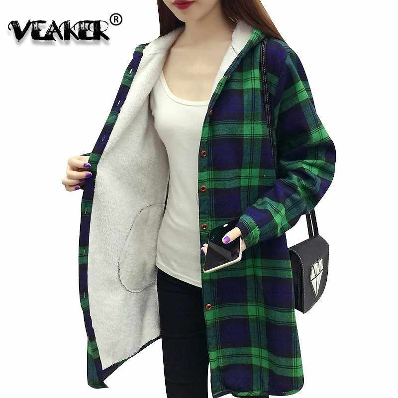 Hoody Winter Jacke Frauen Fleece frauen Plaid Jacken Herbst Casual Warme Dicke Weibliche Rot Slim Fit Hoodies Lose Mantel weibliche