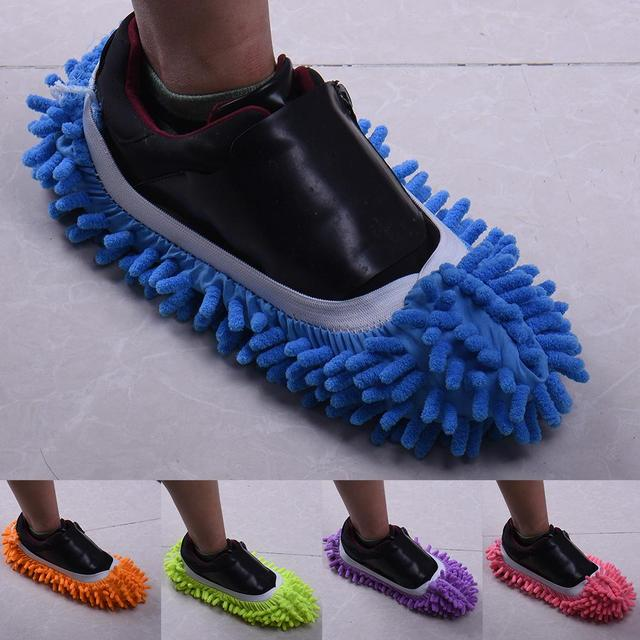 Multifunction Chenille Fibre Washable Dust Mop Slippers Cleaning Shoes Lazy Mopping Shoes House Clean Cover Wipe Shoes Head 1pc