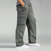6XL Big Size Outdoor Sports Loose Cargo Pants Men Spring Autumn Camping Riding Multi Pocket Straight Overalls Baggy Long Trouser