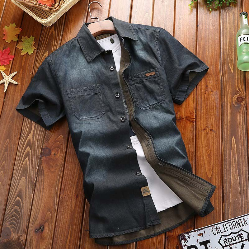 2017 Männer Jeanshemd Marke Shirts Hohe Qualität Männer Casual Kurzarm-shirt Slim Fit Männer Camisas Kleid Denim Shirts