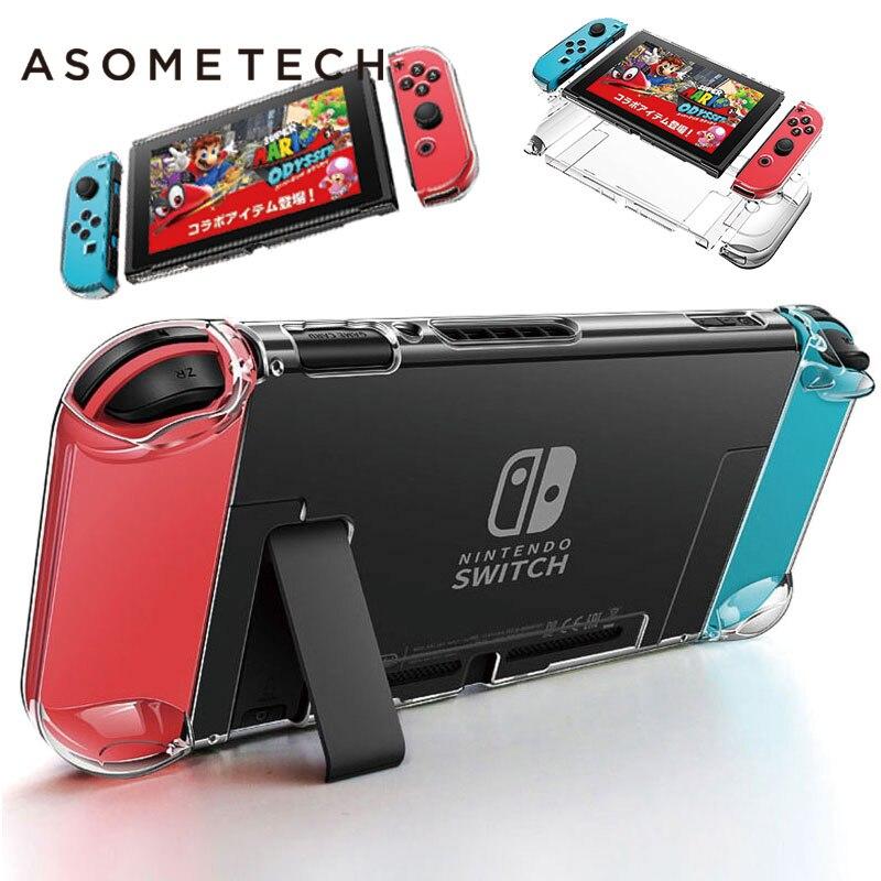 Destacável Cristal PC Case Transparente Para Nintendo Nintend Interruptor NS NX Casos Coque Duro Clara Tampa Traseira Shell Ultra Fino saco