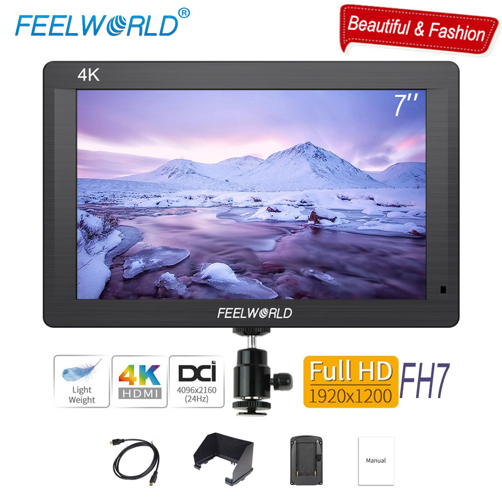 Feelworld FH7 4K HDMI Portable Camera Field DSLR Monitor 7 inch IPS Full HD 1920x1200 LCD Screen External Display for Canon Sony