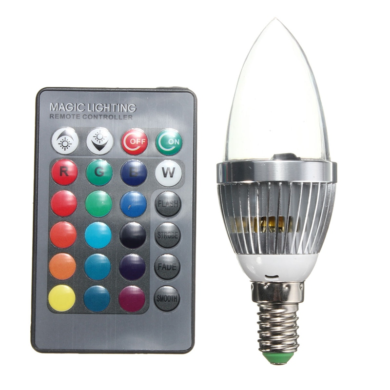 E14 RGB LED Light Bulb 16 Color Changing Candle Light Spotlight Bulb Lamp with Remote Control AC 85-265V 3W