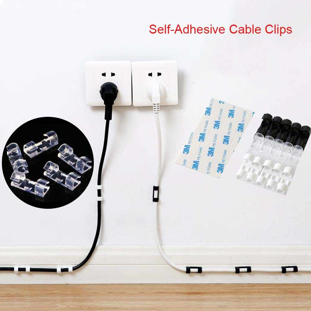 20Pcs/Box Self-Adhesive Cable Clips Organizer Drop Wire Holder Cord Management QJ888