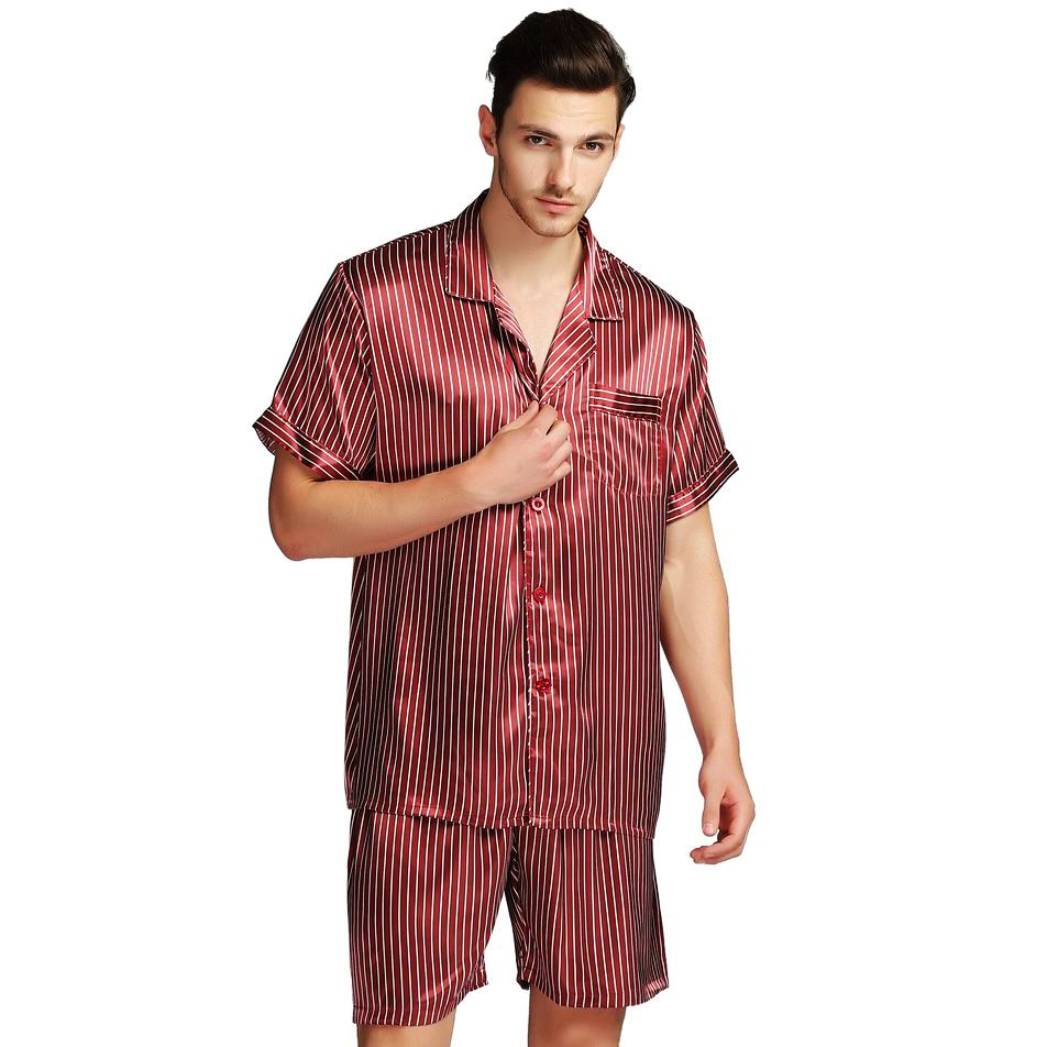 Mens Silk Satin Short  Pajamas Pajama Pyjamas  Set Sleepwear Set Loungewear S~3XL Plus__Gifts
