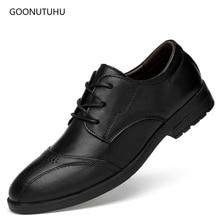 2019 new men's dress shoes genuine leather cow formal lace-up elegant brogue shoe man wedding classic black office shoes for men