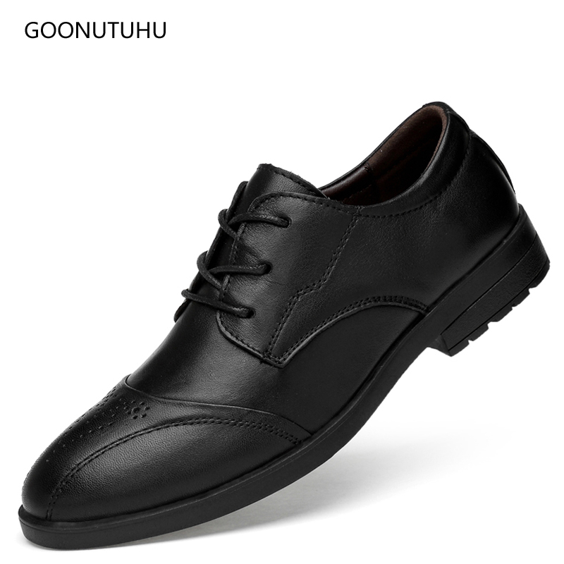 2d6bf711558ccd 2019 new men's dress shoes genuine leather cow formal lace-up elegant brogue  shoe man wedding classic black office shoes for men - aliexpress.com -  imall. ...