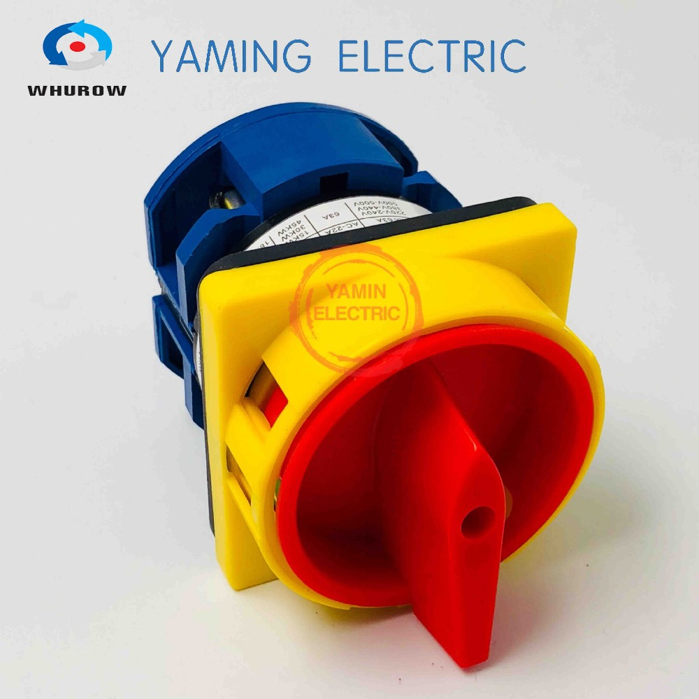 LW26GS YMW26-63/1 Rotary switch knob 2 position on-off padlock 690V 63A 1 pole 4 terminals Motor universal cam switch
