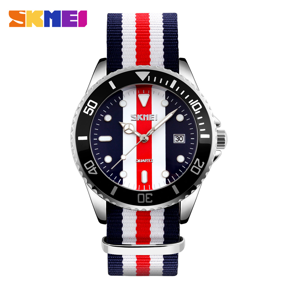 SKMEI Brand British Style Watch Joker Fashion Quartz-Watch Men Quartz 30M Waterproof Nylon Strap Men's Casual Watches Wristwatch new famous brand skmei fashion leather strap quartz men casual watch calendar date work for men dress wristwatch 30m waterproof