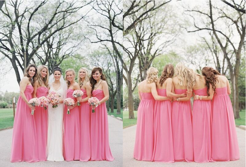 New Arrival Popular Empire Sweetheart Floor-Length Chiffon   Bridesmaid     Dresses   With Ruffle Pink Wedding   Bridesmaid   Gowns