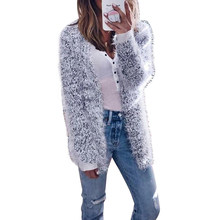6b16a1cdd5 Women Plush Cardigan Coat Fluffy Sweater Long Sleeve Jacket Female Solid  Color Cardigans Fashion Autumn Winter