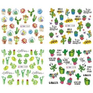 Image 5 - 12 pçs inverno prego slider água decalques cactus flamingo picada gecko abacaxi unha arte manicure decoração adesivo dicas CHBN1261 1272