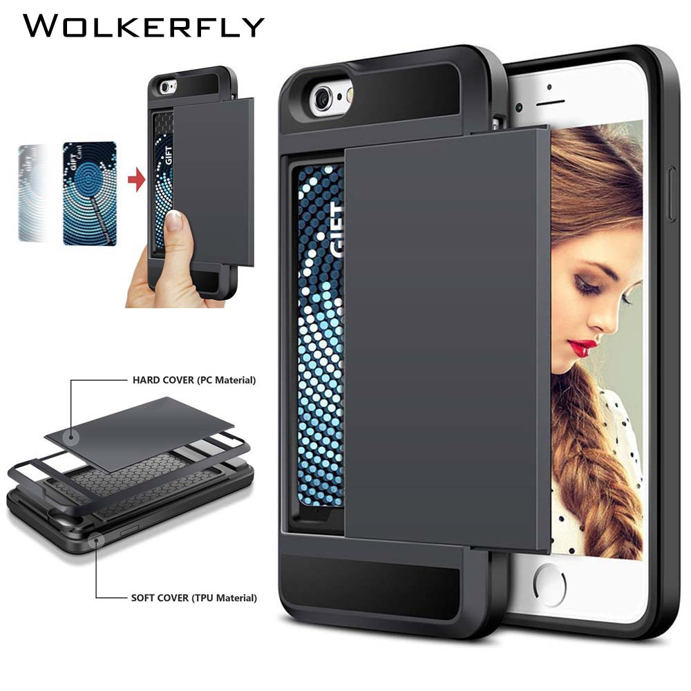 Slide Wallet Credit Card Slot Hard PC Phone Case For