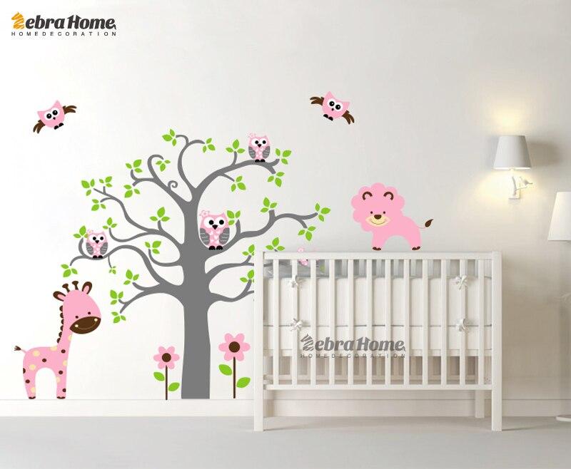 Owl Tree Branch And Deer Lion Cartoon Cute Wall Sticker <font><b>Decal</b></font> Mural Wallpaper Modern Art Vinyl Kid Baby Room Decoration