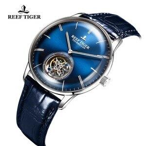 Image 3 - Reef Tiger/RT สีฟ้า Tourbillon นาฬิกาผู้ชายอัตโนมัติ Mechanical นาฬิกาข้อมือหนังแท้สายหนัง relogio ชาย RGA1930
