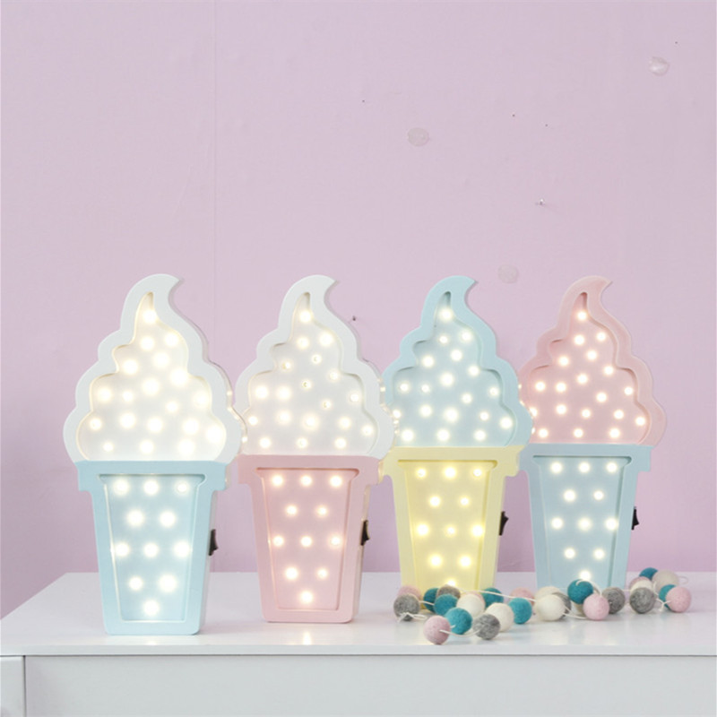 Icecream Led Night Light for Baby Children Kids Gift Table <font><b>Lamp</b></font> Bedside Bedroom Living Room Home <font><b>Decorative</b></font> Indoor Lighting