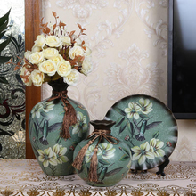 3 pcs set europe pastoral ceramic Flower Vase drawing home decoration tabletop vase new house gift