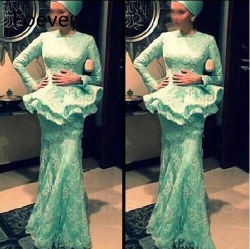 Avec Hijab robe musulmane robe formelle à manches longues dentelle robes de demoiselle d'honneur Abendkleider Dubai Aqua Green 2018 2019