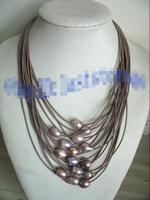 Free Shipping >>>>> WOW! 17 24 15rows freshwater pearl purple egg necklace wholesale nature beads