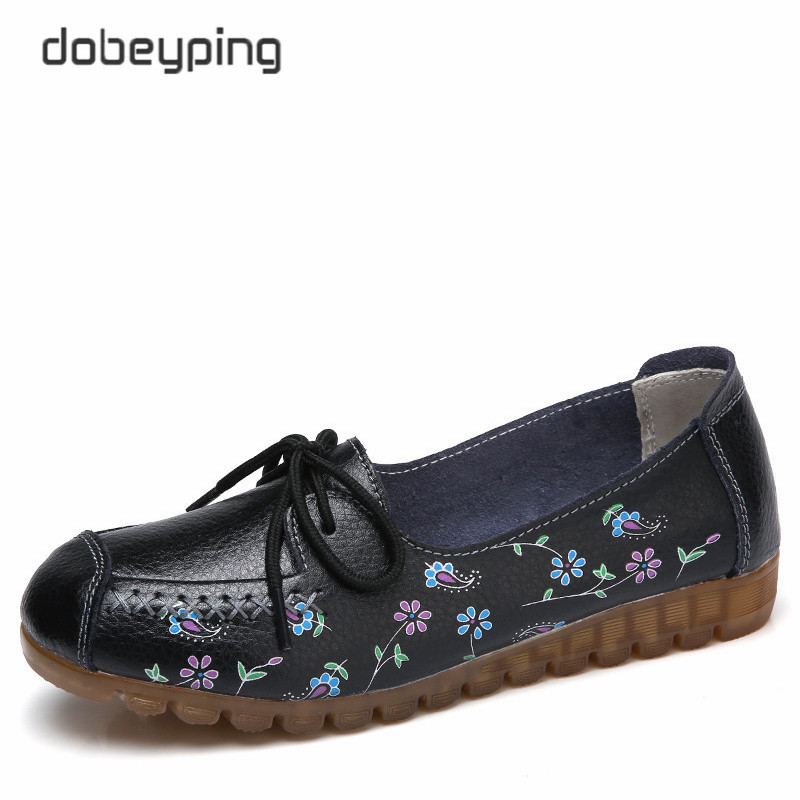 2018 Printing Flower Spring Shoes Woman Lace-Up Women Flats Genuine Cow Leather Female Loafers Moccasins Ladies Shoe Size 35-42 цена и фото
