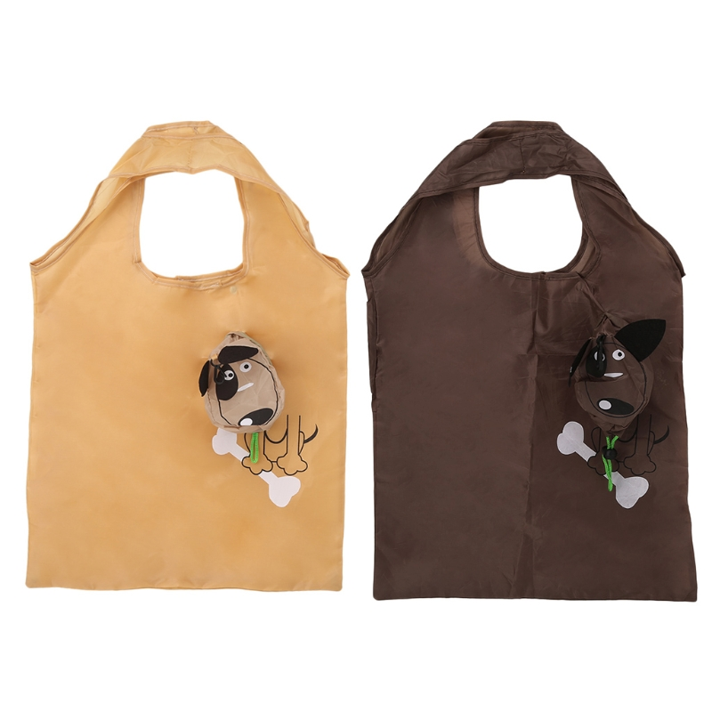 Cute Cartoon Dog Foldable Folding Nylon Shopping Recycle Carrier Tote Reusable Eco Bag