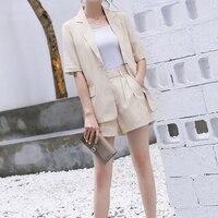 Summer Pure Color Short Suits for Women Stylish Blazer & Hot Shorts Office Girl Suit Female 2 Piece Set 2018 Feminino