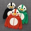 Новорожденных Девочек С Длинным Рукавом Молнии С Капюшоном Кофты для девочки Рождество костюм для девочки симпатичные пингвин куртка для девочек зимнее пальто