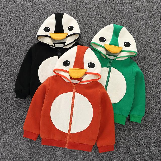 Meninas do bebê Manga Longa Com Capuz Zipper Camisolas para menina traje para a menina bonito do pinguim Do Natal para meninas jaqueta de inverno casaco