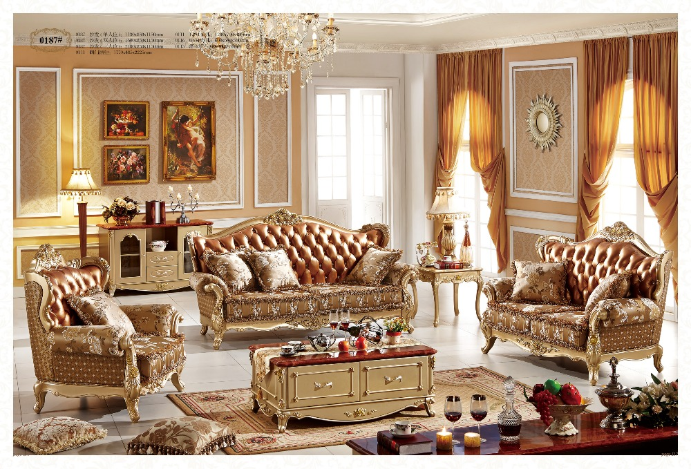 Elegant French Style Living Room Sofa Furniture 187 With Grain Leather