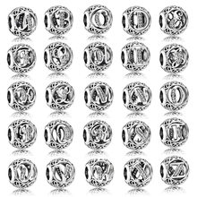 A-R Authentic 925 Sterling Silver Bead di Fascino Openwork Alfabeto 26 Lettera Con Perline Di Cristallo Fit Pandora Braccialetto Del Braccialetto(China)