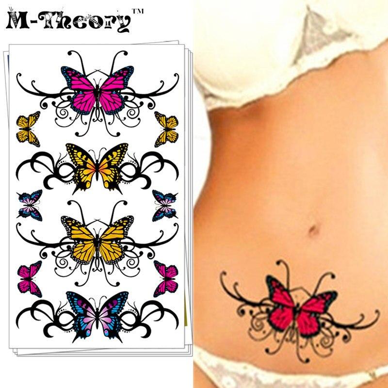 Sexy Charming Butterfly Temporary Tattoo Body Art Flash Tattoo Sticker 17*10cm Waterproof Henna Tatoo Selfie Fake Tattoo Sticker