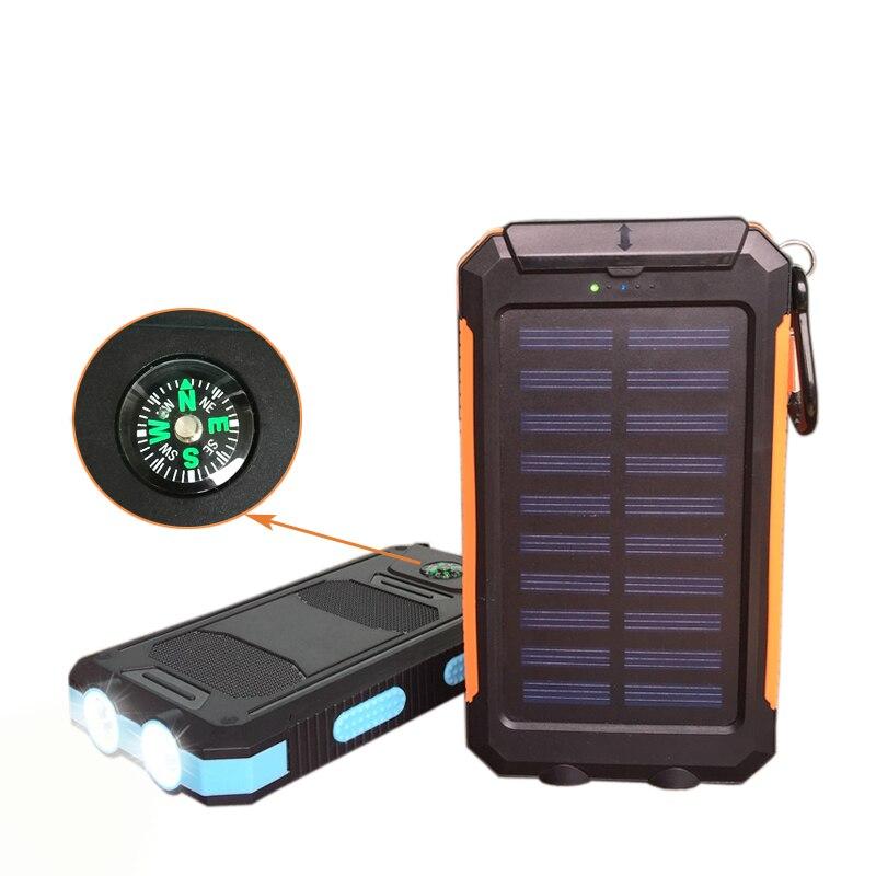 imágenes para 10000 mAh Banco de Potencia Dual USB Cargador Rápido de Batería Solar Solar Brújula Viajes Sol Solar Cargador para Xiaomi Powerbank Externa