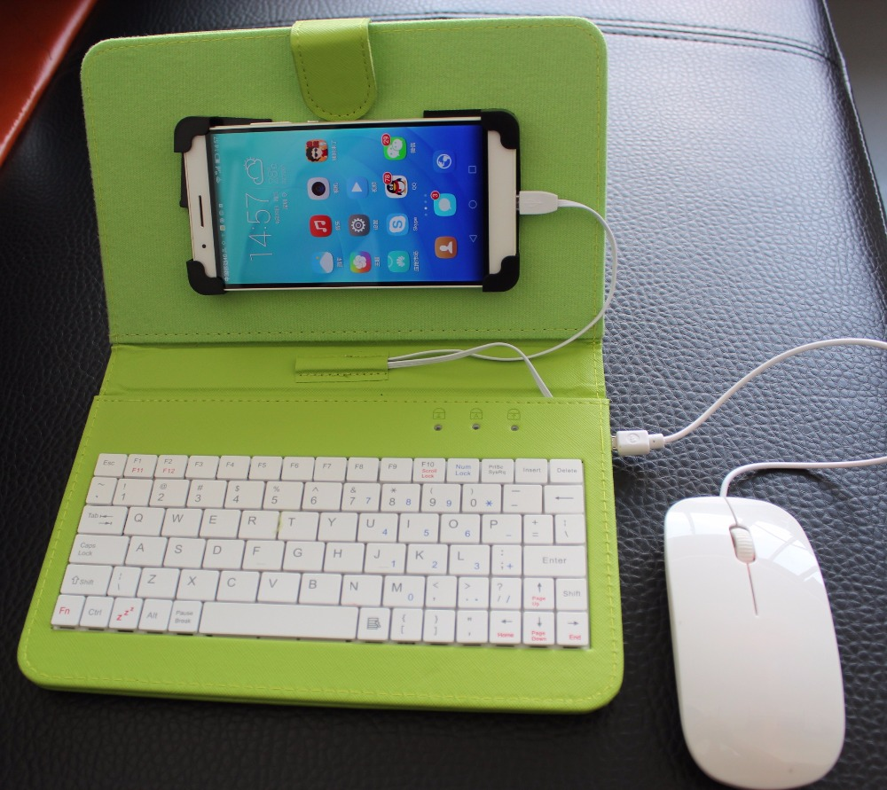 4 Colors Leather Case protector with USB Keyboard mouse for Most Android System font b Mobile