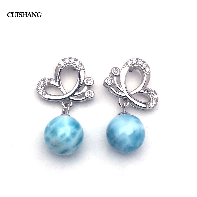CSJ Natural Larimar Drop Earring Sterling 925 Silver Blue Stone for Women Ladies Girls Wedding Engagement Party Gift