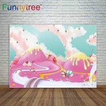 Doces fundo barra de chocolate de sobremesa sorvete rosa decoração do partido fundo nuvem uma foto photo booth
