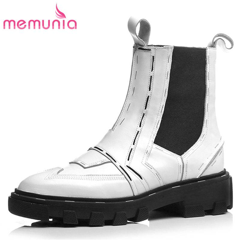 MEMUNIA NEW 2018 fashion round toe genuine leather boots flat with platform ankle boots for women slip on autumn female boots martine women ankle boots flat with chelsea boots for ladies spring and autumn female suede leather slip on fashion boots