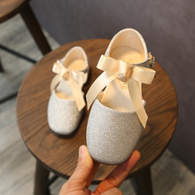 ULKNN Silver flat for for girls gold Pink powder lace princess shoes children's big Kid's single shoes 2019 spring new
