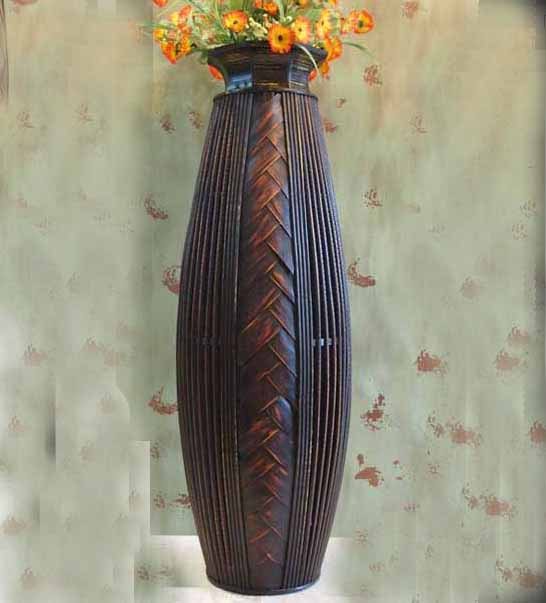 Antique Large Floor Vase Wood U0026 Bamboo Big Floor Vase Retro Living Room  Home Decor Craft Flower Vase For Wedding Decaration  In Vases From Home U0026  Garden On ...