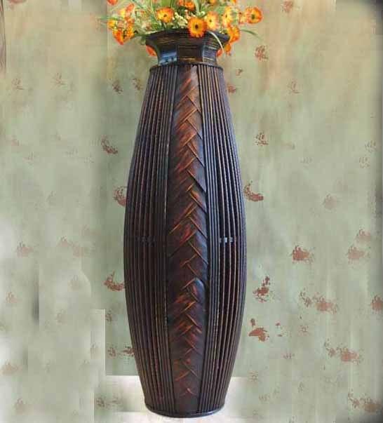 Kignart Antique Large Floor Vase Big Wood U0026 Bamboo Big Floor Vase Retro Living  Room Home Decor Craft Flower Vase For Wedding Part 87